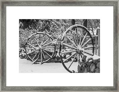 Oo Wagon Wheels Black And White Framed Print by Scott Campbell