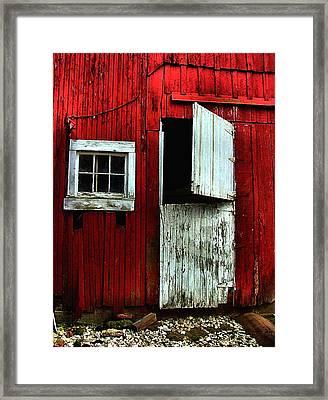 Open Barn Door Framed Print by Julie Dant