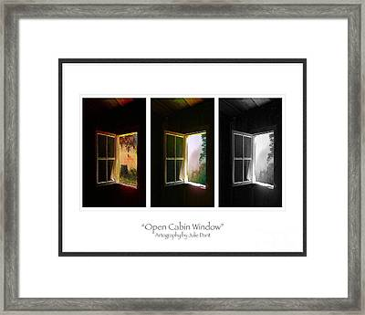 Open Cabin Window Trio Framed Print by Julie Dant