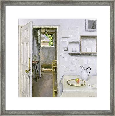 Open Doors With Still Life And Letter Framed Print by Charles E Hardaker