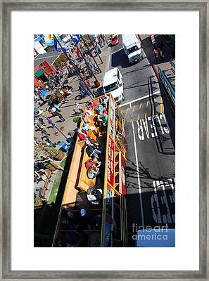 Open Top Tour Bus At Pier 39 San Francisco California 5d26076 Framed Print by Wingsdomain Art and Photography