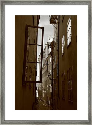 Open Window In Gamla Stan - Sepia Framed Print by Ulrich Kunst And Bettina Scheidulin
