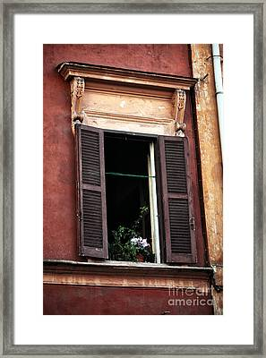 Open Window In Rome Framed Print by John Rizzuto