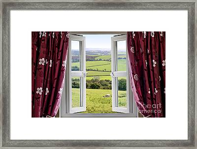 Open Window With View Across And English Countryside Framed Print by Simon Bratt Photography LRPS