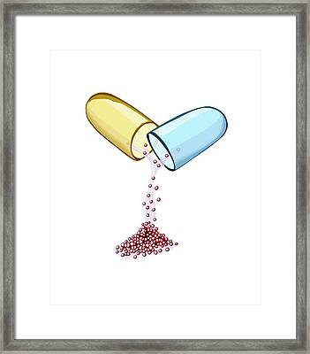 Opened Drug Capsule Framed Print by Paul Brown