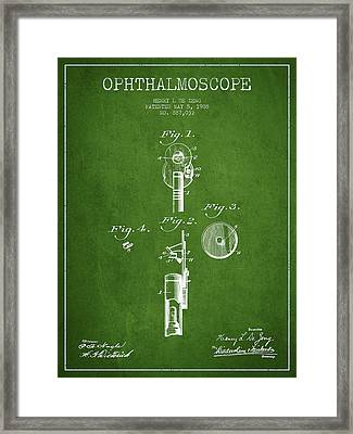 Ophthalmoscope Patent From 1908 - Green Framed Print by Aged Pixel