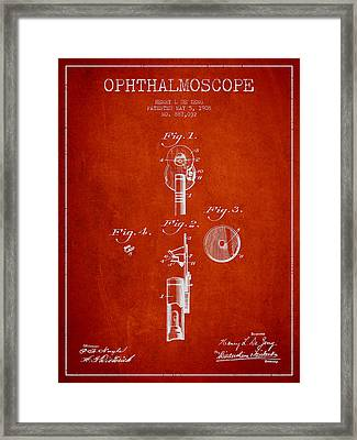 Ophthalmoscope Patent From 1908 - Red Framed Print by Aged Pixel