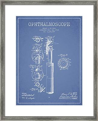 Ophthalmoscope Patent From 1915 - Light Blue Framed Print by Aged Pixel