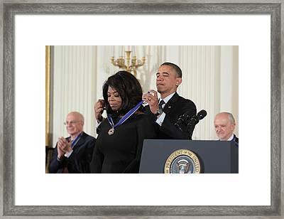 Oprah Winfrey Medal Of Freedom Framed Print by Douglas Adams