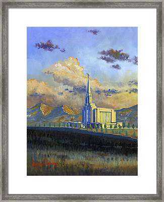 Oquirrh Mountain Temple Framed Print by Jeff Brimley