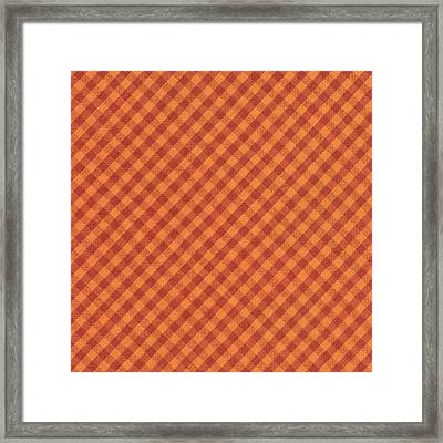 Orang And Brown Checkered Diagonal Tablecloth Cloth Background Framed Print by Keith Webber Jr
