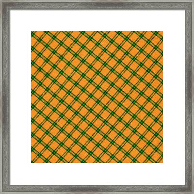 Orange And Green Plaid Cloth Background Framed Print by Keith Webber Jr