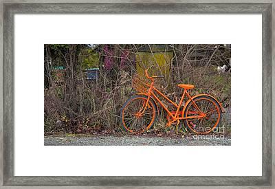 Orange Bike Framed Print by Graham Foulkes