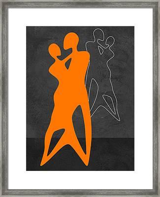 Orange Couple Dancing Framed Print by Naxart Studio