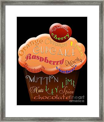 Orange Cupcake Typography Framed Print by Andee Design