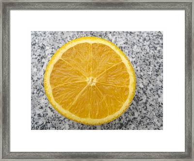 Orange Cut In Half Grey Background Framed Print by Matthias Hauser