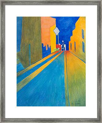 Orange France At Night Framed Print by Lee Beuther