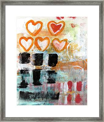 Orange Hearts- Abstract Painting Framed Print by Linda Woods