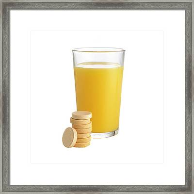 Orange Juice And Vitamin C Tablets Framed Print by Science Photo Library