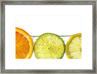 Orange Lemon And Lime Slices In Water Framed Print by Elena Elisseeva
