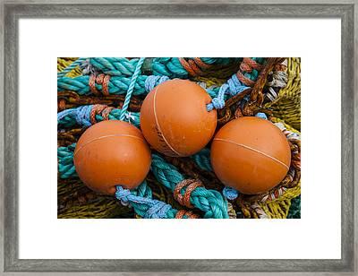 Orange Net Floats Framed Print by Carol Leigh