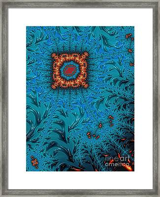 Orange On Blue Abstract Framed Print by John Edwards