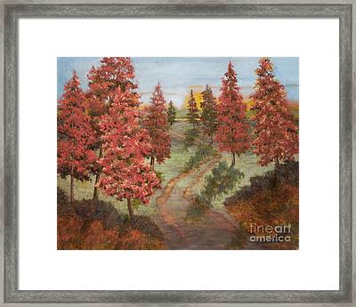 Orange Pines Framed Print by Vic  Mastis