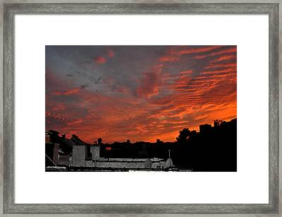 Orange Sky From Brooklyn Roof Framed Print by Diane Lent
