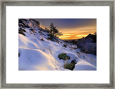 Orange Sunset At The Mountains Framed Print by Guido Montanes Castillo