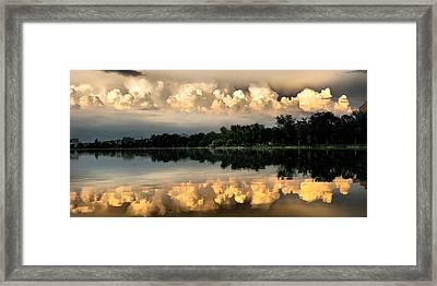 Orange Sunset Reflection Framed Print by Daliana Pacuraru