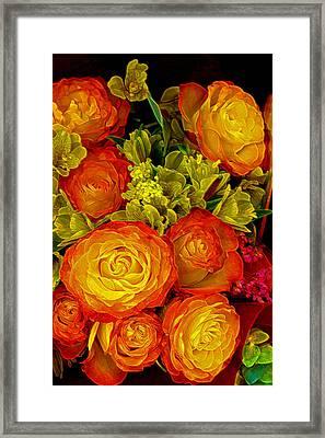 Orange Yellow Rose Pouquet Framed Print by Linda Phelps