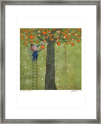 Oranges And Dragonfly One Framed Print by Dennis Wunsch