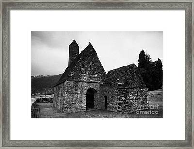 Oratory Known As St Kevins Kitchen Glendalough Monastery County Wicklow Republic Of Ireland Framed Print by Joe Fox