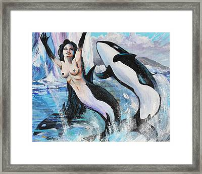 Orca Mermaid Framed Print by Karon Melillo DeVega