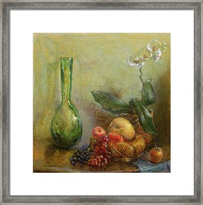 Orchid With Basket Of Fruit And Green Vase Oil On Canvas Framed Print by Gail Schulman