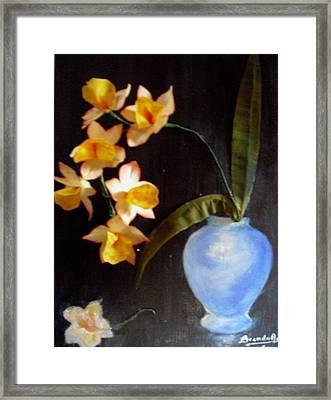 Orchids In A Vase Framed Print by Brenda Almeida-Schwaar