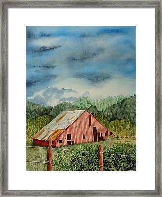 Oregon Barn Framed Print by Katherine Young-Beck