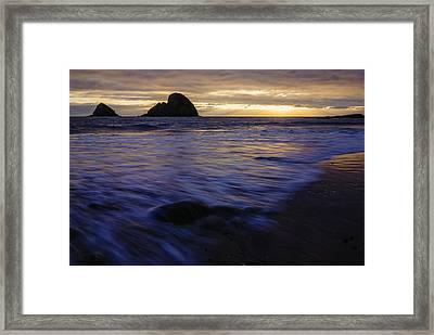 Oregon Coast Dramatic Sunset Framed Print by Vishwanath Bhat