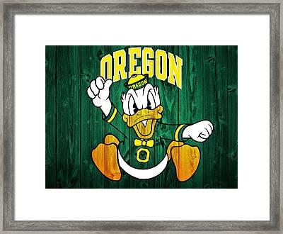 Oregon Ducks Barn Door Framed Print by Dan Sproul