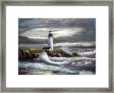 Oregon Lighthouse Beam Of Hope Framed Print by Gina Femrite