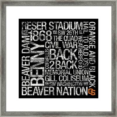 Oregon State College Colors Subway Art Framed Print by Replay Photos