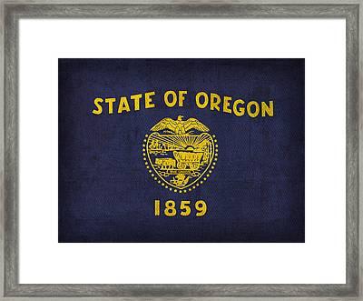 Oregon State Flag Art On Worn Canvas Framed Print by Design Turnpike