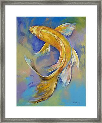 Orenji Butterfly Koi Framed Print by Michael Creese