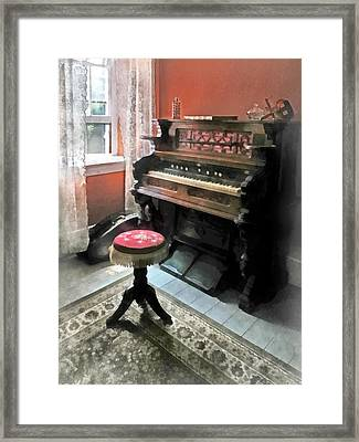 Organ With Petit Point Stool Framed Print by Susan Savad