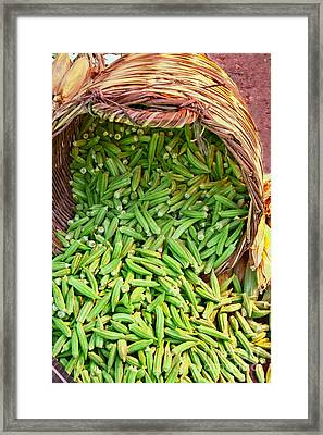 Organic Okra Spilling From A Basket Framed Print by Leyla Ismet