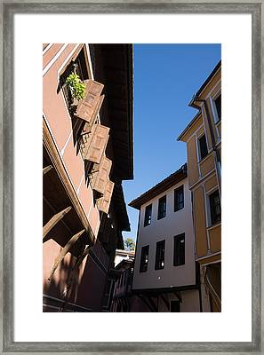 Oriel Windows And Renaissance Facades In Old Town Plovdiv Bulgaria Framed Print by Georgia Mizuleva
