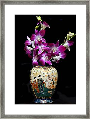 Oriental Orchids. Framed Print by Terence Davis