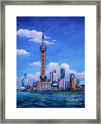Oriental Pearl Shanghai Framed Print by John Clark