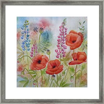 Oriental Poppies Meadow Framed Print by Carla Parris