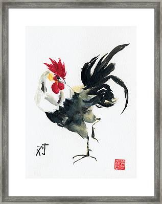 Oriental Rooster Framed Print by Sandy Linden